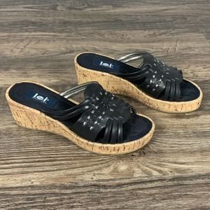 LEI black leather cork wedge slip on boho sandals